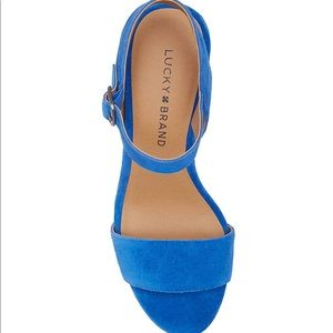 5c66724849b Lucky Brand Shoes - Lucky Brand Blue Suede Trisa Heels Never Worn sz 9